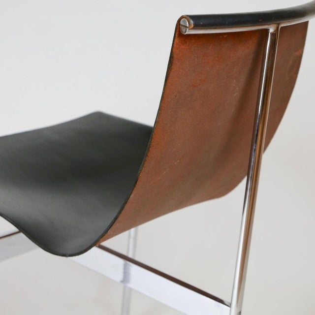 """Set of 6 1952 Katavolos Kelley & Littell for Laverne """"T"""" Chairs in Black Leather For Sale - Image 10 of 13"""