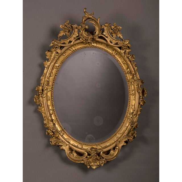 Belle Epoque 19th Century Gilded Oval Frame French Mirror For Sale - Image 3 of 6