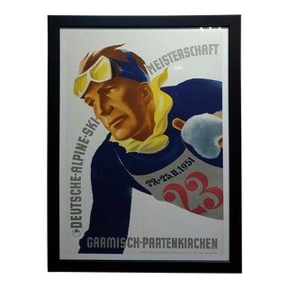 German Alpine Ski Meisterschaft Original 1951 Poster For Sale