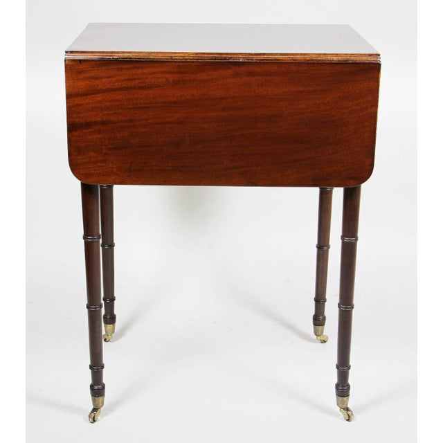 Mahogany Regency Mahogany And Brass Inlaid Table For Sale - Image 7 of 10