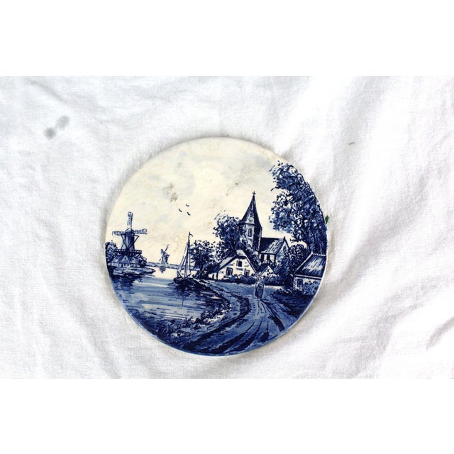 Early 20th Century Vintage Cobalt Blue & White Delft Trivet For Sale - Image 5 of 5