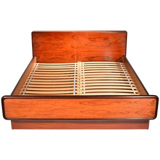Nordisk Andels-Eksport Danish Modern Rosewood Queen Platform Bed For Sale