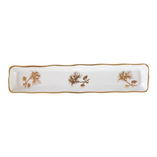 English Gilt Porcelain Pen Tray For Sale