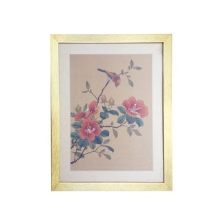 Chinoiserie Painting on Silk of a Bird and Flowering Pink Hibiscus Tree in Modern Gold Frame For Sale