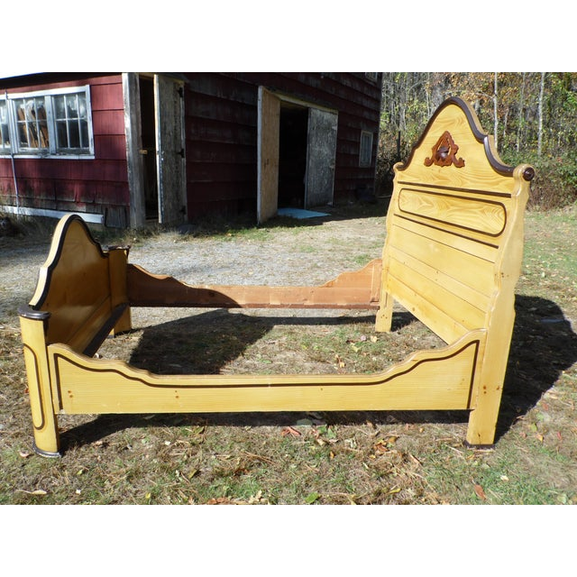 Wood Antique Victorian Cottage Painted Double Full Size Bed American Country Folk Art For Sale - Image 7 of 11