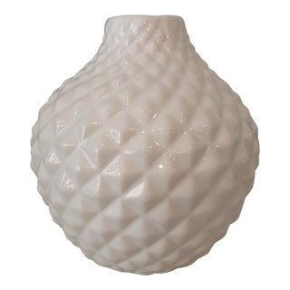 White Ceramic Carved Vase For Sale