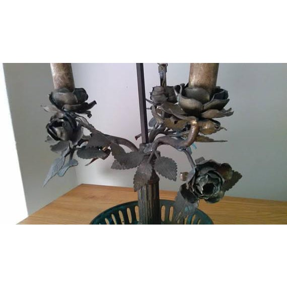 Antique Steel & Brass Roses Lamp - Image 3 of 9