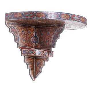 Moroccan Painted Wall Shelf or Bracket For Sale