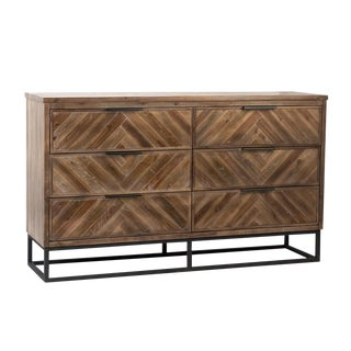 Herringbone Wood & Iron Dresser For Sale