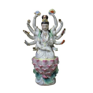 Chinese Small Handmade Ceramic 12 Arms Sitting Kwan Yin Statue For Sale