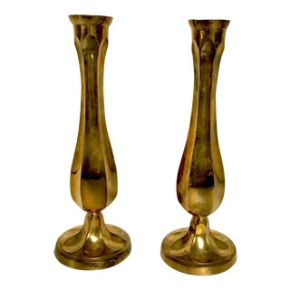 Brass Fluted Vases or Candle Holders - a Pair For Sale