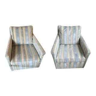 Brunschwig & Fils Bromo Velvet Upholstered Swivel Chairs - a Pair For Sale