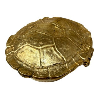 Vintage Distressed Gold Leaf Gilded Metal Hinged Lid Turtle Box For Sale