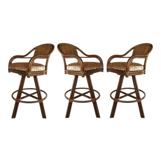 Vintage McGuire Rattan & Leather Swivel Bar Stools- Set of 3 For Sale