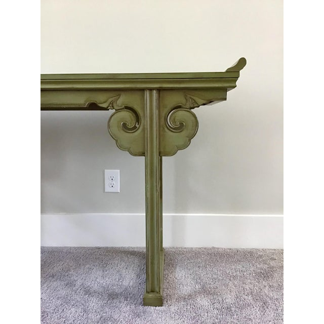 Baker Furniture Company 20th Century Asian Style Jade Wood Altar Console Table For Sale - Image 4 of 10