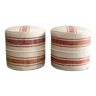 Custom Made Round Ottomans From a Woven Sabra Silk Rug For Sale