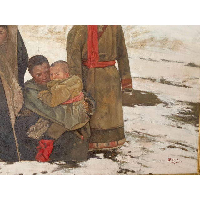 1990s Maquan Mongol Family Original Oil Painting For Sale In Tampa - Image 6 of 9