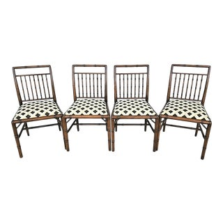 Asian Chinoiserie Faux Bamboo Fretted Solid Wood Dining Gaming Chairs-Set of 4 For Sale