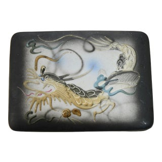 "Raised Relief Porcelain 5"" Dragon Box For Sale"