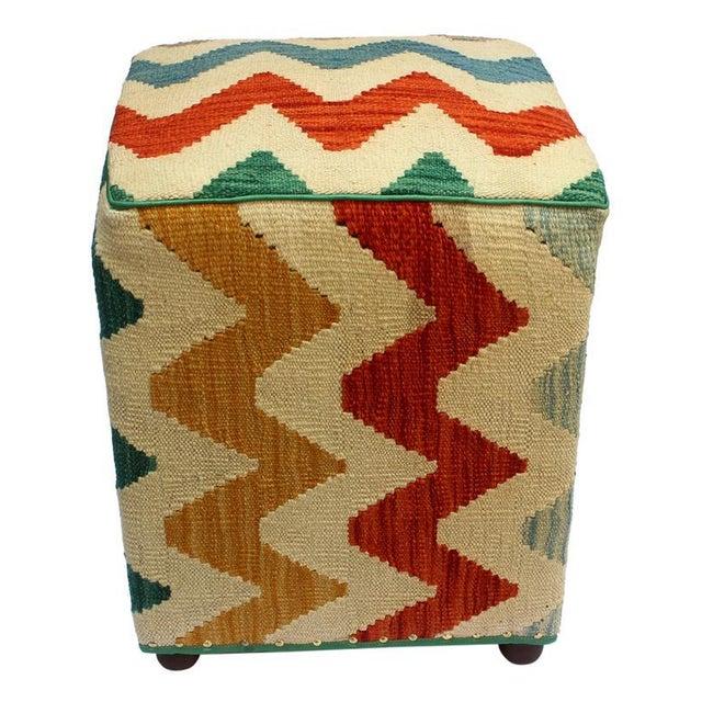 Asian Arshs Corrine Ivory/Rust Kilim Upholstered Handmade Ottoman For Sale - Image 3 of 8