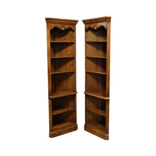 Ethan Allen Country French Pair Corner Bookcases For Sale