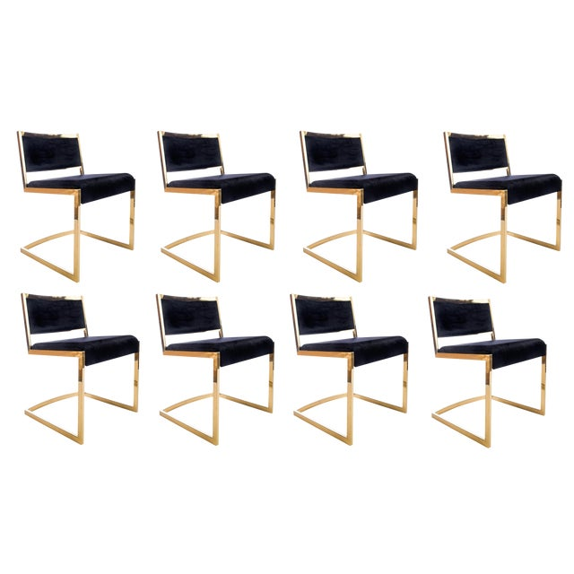 Bradley Gold and Black Dining Chairs - Set of 8 For Sale In Los Angeles - Image 6 of 8