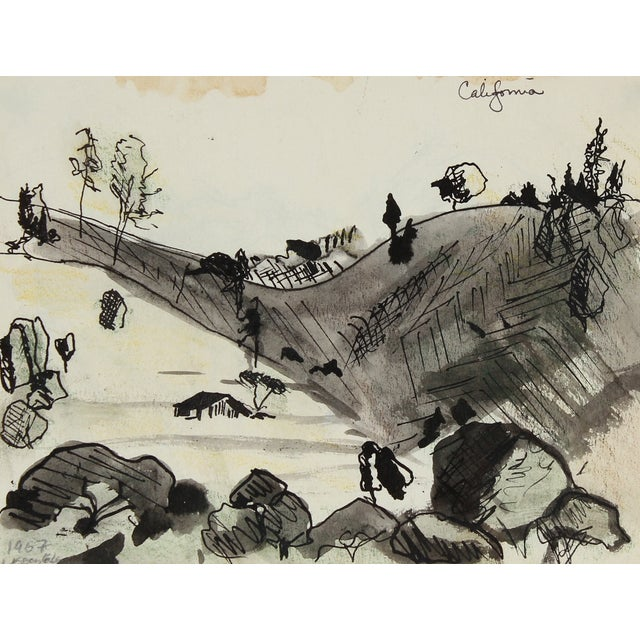 "Laura Lengyel ""California"" Ink Drawing, 1967 - Image 1 of 2"