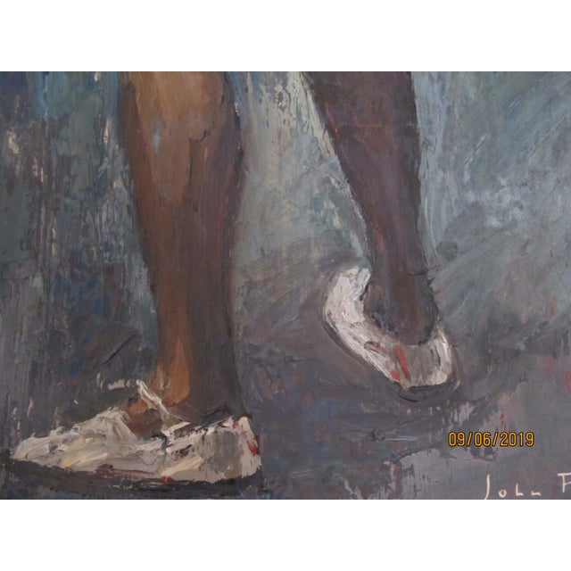 1970s Vintage John Fulton Short Boy Matador With Newspaper Oil Painting For Sale In San Francisco - Image 6 of 9