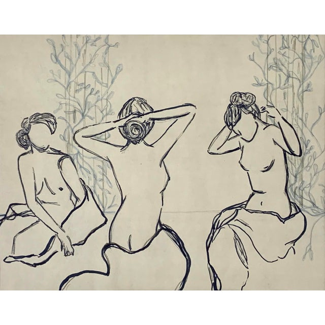 Abstract Lindsey Weicht Bathing Females Framed Mixed Media Drawing For Sale - Image 3 of 4