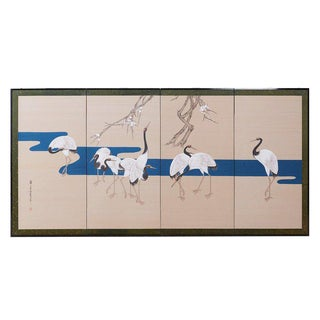 Japanese Showa Four-Panel Screen of Red Crowned Cranes For Sale