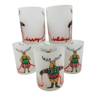 """Vintage Neiman Marcus """"Happy Holidays"""" Double Old Fashioned Glasses - Set of 6 For Sale"""