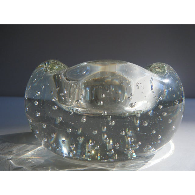 "Vintage Clear Glass ""Bubbles"" Modern Style Ashtray - Image 2 of 5"