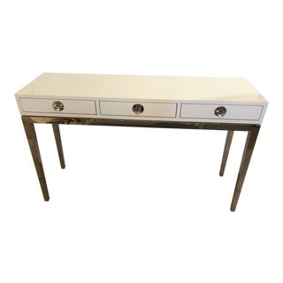 Contemporary Jonathan Adler White Lacquer and Chrome Console For Sale