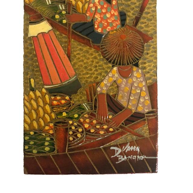 Asian Vintage Bangkok Floating Market Panel, Embossed & Painted Leather For Sale - Image 3 of 5