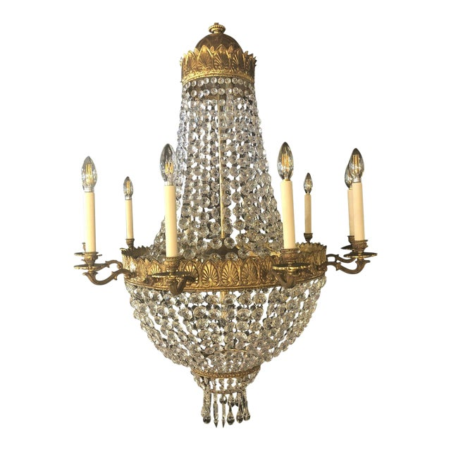 Large French Antique Louis XVI Style Bronze and Crystal Chandelier For Sale