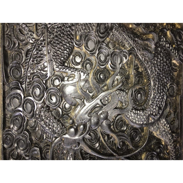 Traditional Large Antique Hand Carved Black Lacquer Plaque For Sale - Image 3 of 7