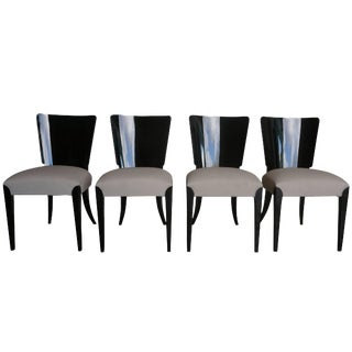 20th Century Halabala Art Deco Ebonized Dining Chairs - Set of 4 For Sale