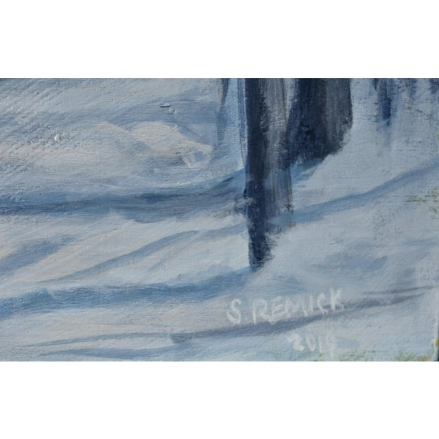 "Stephen Remick Stephen Remick ""Moonlit Snowy Path"" Contemporary Painting For Sale - Image 4 of 8"