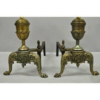 Vintage French Empire Style Brass Cannonball Paw Foot Fireplace Andirons - a Pair Preview