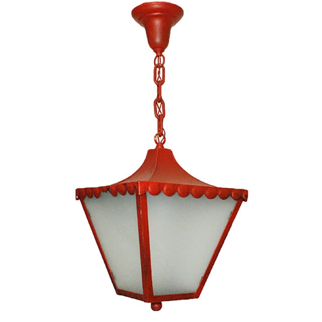 1900s Regency Style Red Pendant Light For Sale - Image 4 of 4