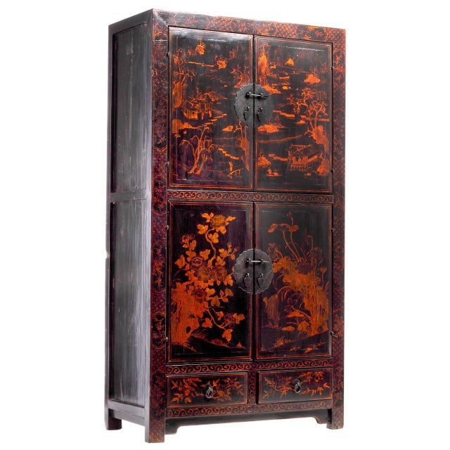 Black Lacquered Cabinet with Hand-Painted Landscape from China, 19th Century For Sale In New York - Image 6 of 6