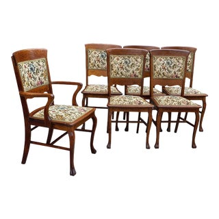 Antique Farmhouse Quartersawn Oak Floral Needlepoint Dining Chairs - Set of 6 For Sale