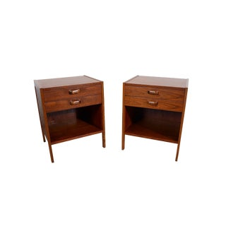 1960s Mid Century Modern Teak and Oak Nightstands - a Pair For Sale