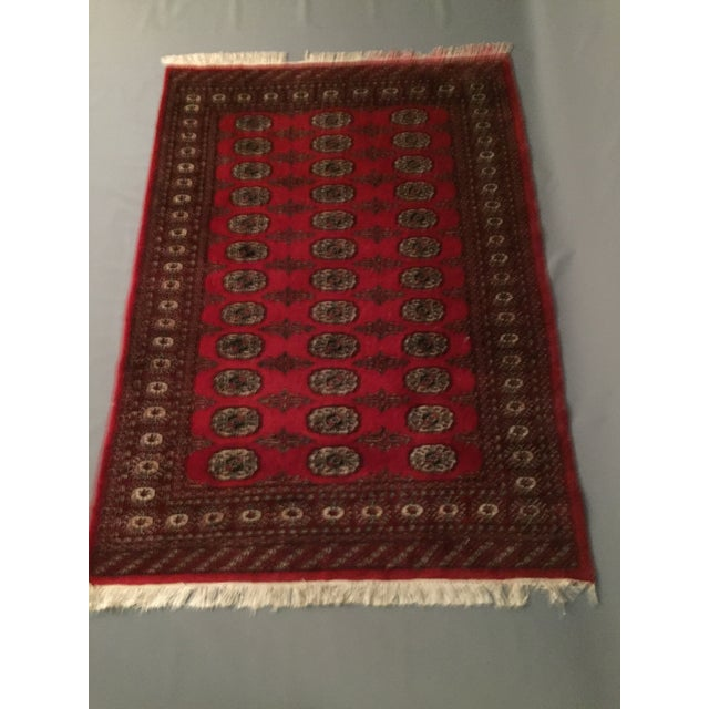 Hand Knotted Woolen Bokhara Rug - 4' x 6' For Sale - Image 5 of 10