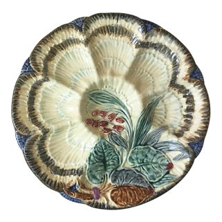 Late 19th Century Vintage Majolica Oyster Plate For Sale