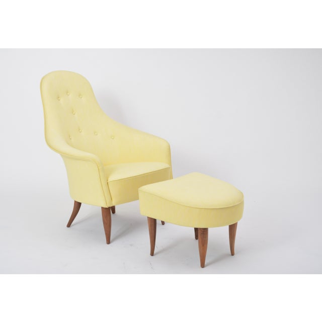 Large Adam' Reupholstered Lounge Chair With Ottoman by Kerstin Hörlin-Holmquist For Sale - Image 11 of 12