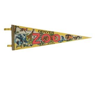Vintage Denver Zoo Colorado Felt Flag Pennant