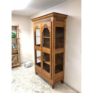 1990s Pine Farmhouse Style Cabinet With Chicken Wire Doors Preview