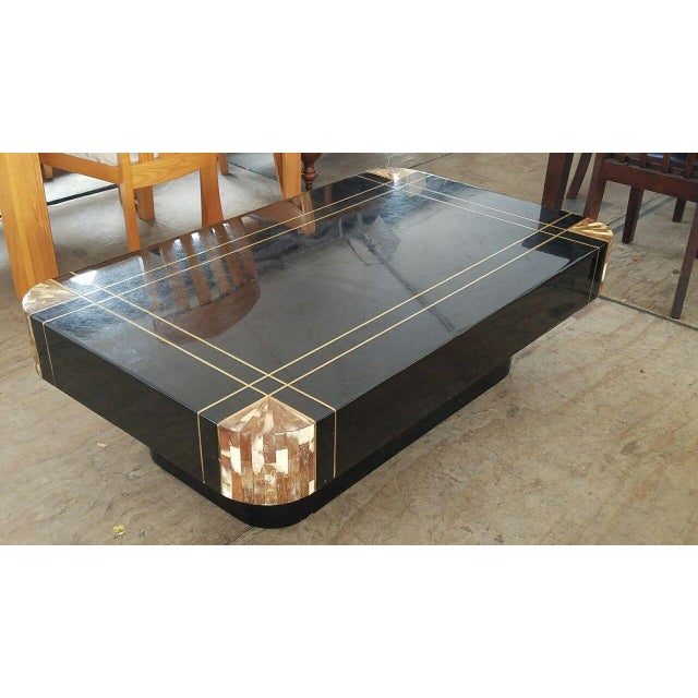 Mid-Century Black Lacquer Inlaid Brass and Tessellated Horn Coffee Table For Sale - Image 10 of 10