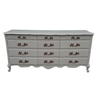French Provincial Gray 12 Drawer Dresser For Sale